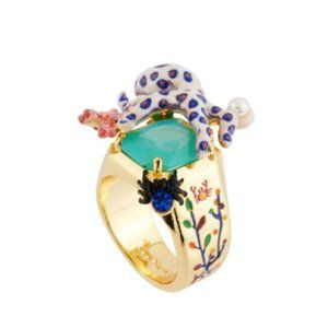 Les Nereides Octopus On Stone&Multi Corals Ring